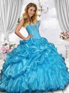 2015 Beautiful Sweetheart Beading Sweet 16 Dress in Blue