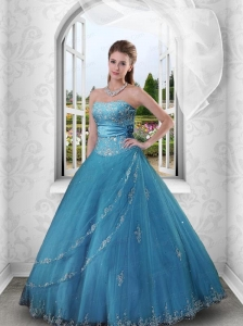 2015 Charming Appliques and Beading Blue Strapless Quinceanera Dresses