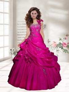 2015 Customize One Shoulder  Appliques Quinceanera Dress in Red
