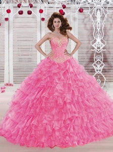 2015 Elegant Sweetheart Organza Rose Pink Quinceanera Dress with Beading