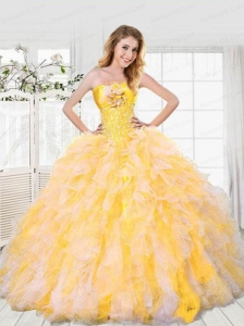 2015 Exquisite Light Yellow Dresses For Quinceanera with Beading and Ruffles