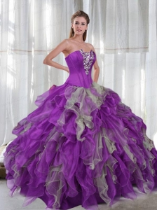 2015 Fashionable Appliques and Ruffles Sweet 16 Dresses in Multi-color