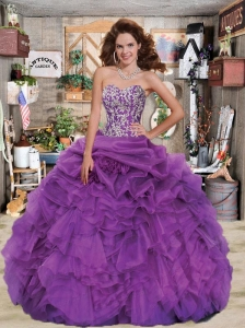 2015 Luxirious Sweetheart Appliques and Ruffles Purple Dress For Quince
