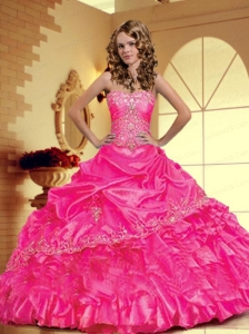 2015 Luxurious Strapless Hot Pink Sweet Sixteen Dresses with Appliques and Pick-ups