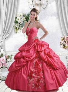 2015 Popular Coral Red Quinceanera Dress with Pick-ups and Hand Made Flowers