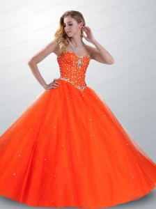 2015 Pretty Popular Orange Red Quinceanera Dress with Beading
