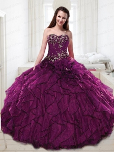 2015 Wonderful Purple Quinceanera Dresses with Appliques and Ruffles