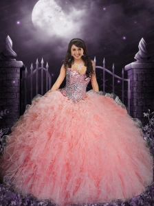 Beautiful Baby Pink Sweetheart Quinceanera Dresses with Beading and Sequins For 2015