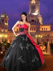 Beautiful Strapless Appliques and Bowknot Red and Black Quinceanera Dresses For 2015