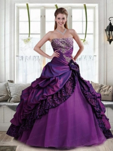 Brand New Ball Gown Strapless Purple Quinceanera Dresses with Ruffles