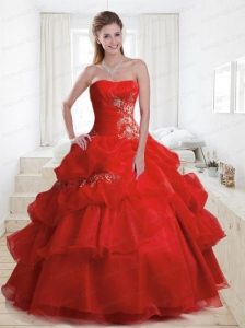 Brand New Ball Gown Strapless Red Quinceanera Dresses with Ruffles