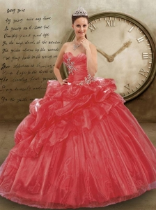 Brand New Sweetheart Appliques and Pick-ups Coral Red Dresses for Quinceanera