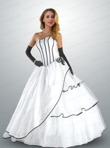 Cheap Strapless Organza and Taffeta White Quinceanera Gown with Beading