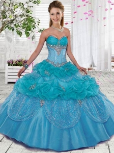 Costom Made Sweetheart Blue Quinceanera Dresses with Beading and Ruffles