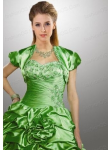 Customize Green Taffeta Quinceanera Jacket with Beading and Ruffles
