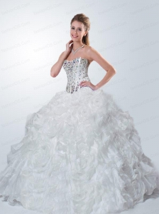 Customize Sweetheart Beading Quinceanera Dresses in White For 2015