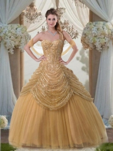 Discount Ball Gown Sweetheart Floor-length Gold Quinceanera Gowns
