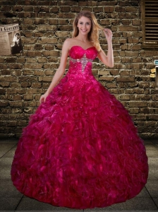 Elegant Fuchsia Sweetheart Quinceanera Dress with Beading and Ruffles
