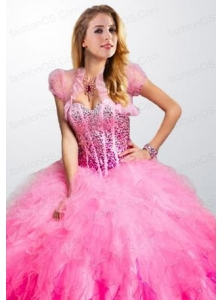 Elegant Pink Organza Open Front Quinceanera Jacket with Ruffels and Beading
