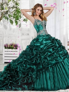 Elegant Spaghetti Straps Organza Dark Green Quinceanera Dress with Beading
