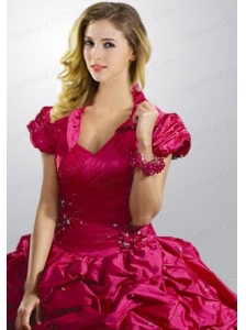 Exclusive Taffeta Pick-ups and Beading Quinceanera Jacket in Fuchsia