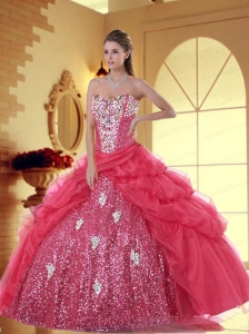 Exquisite Sweetheart Coral Red Quinceanera Dresses with Pick-ups and Appliques