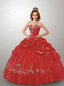 Fashionable Sweetheart Appliques and Pick-ups Red Dresses for Quince