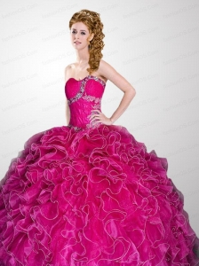 Hot Pink Sweetheart Beading and Ruffles Quinceanera Dress