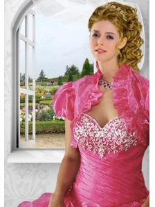 Inexpensive Red Organza Short Quinceanera Jacket with Ruffles