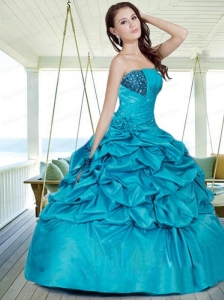 Inexpensive Strapless Blue Sweet Sixteen Dresses with Appliques and Pick-ups