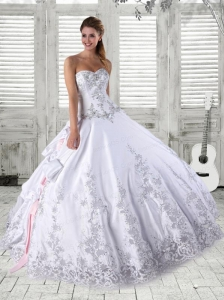 Luxurious Embroidery Quinceanera Dress in White For 2015