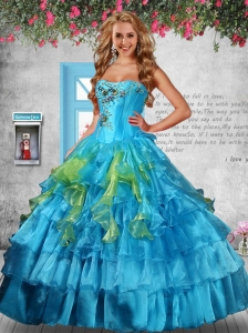 Luxurious Strapless Appliques and Ruffles Baby Blue Sweet Sixteen Dresses