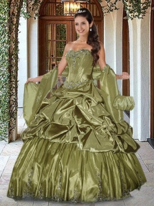 Luxurious Tea Green Quinceanera Dresses with Appliques