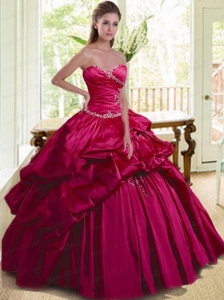 Modern Sweetheart Appliques and Pick-ups Quinceanera Dress in Fuchsia