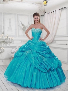 Popular Sweetheart Appliques and Pick-ups Turquoise Dresses for Quinceanera