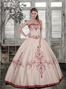 The Most Popular Embroidary Strapless White Quinceanera Dress