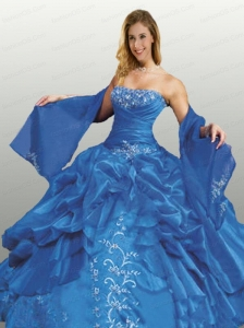 The Super Hot Strapless Blue Quinceanera Dress with Appliques and Pick-ups