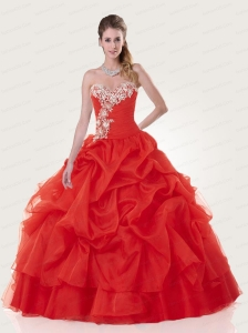 The Super Hot Sweetheart Coral Red Quinceanera Dresses With Appliques and Pick Ups