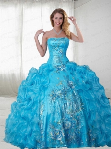 Unique Aqua Blue Quinceanera Gown with Appliques and Ruffles