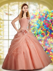 Wonderful Appliques and Ruching Peach Quinceanera Dress For 2015