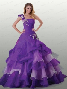 Wonderful One Shoulder Appliques and Ruffles Purple Quinceanera Dress For 2015