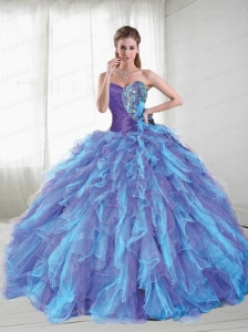 Wonderful Sweetheart Multi-color Sweet Sixteen Dress with Beading and Ruffles