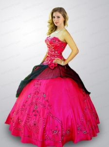 2014 New Arrival Sweetheart Embroidery and Beading Quinceanera Dress in Hot Pink