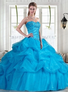 2015 Brand New Baby Blue Quinceanera Dresses with Beading and Pick-ups