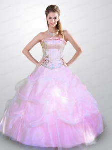 2015 Cheap Hot Sale Baby Pink Quinceanera Dresses with Beading