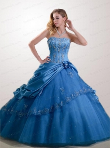 2015 Exclusive Appliques  and Pick-ups Quinceanera Dresses in Blue