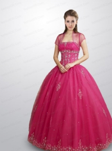 2015 Fashionable Strapless Hot Pink Quince Dresses with Beadin