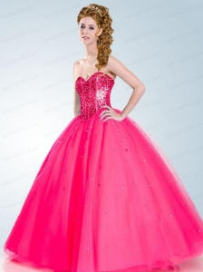 2015 The Most Popular Hot Pink Quinceanera Dress with Beading and Sequins