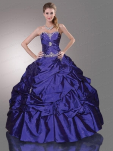 Appliques Sweetheart Taffeta Sweet 16 Dress with Pick-ups