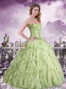Beautiful Appliques and Ruffles Apple Green Strapless Quinceanera Dress